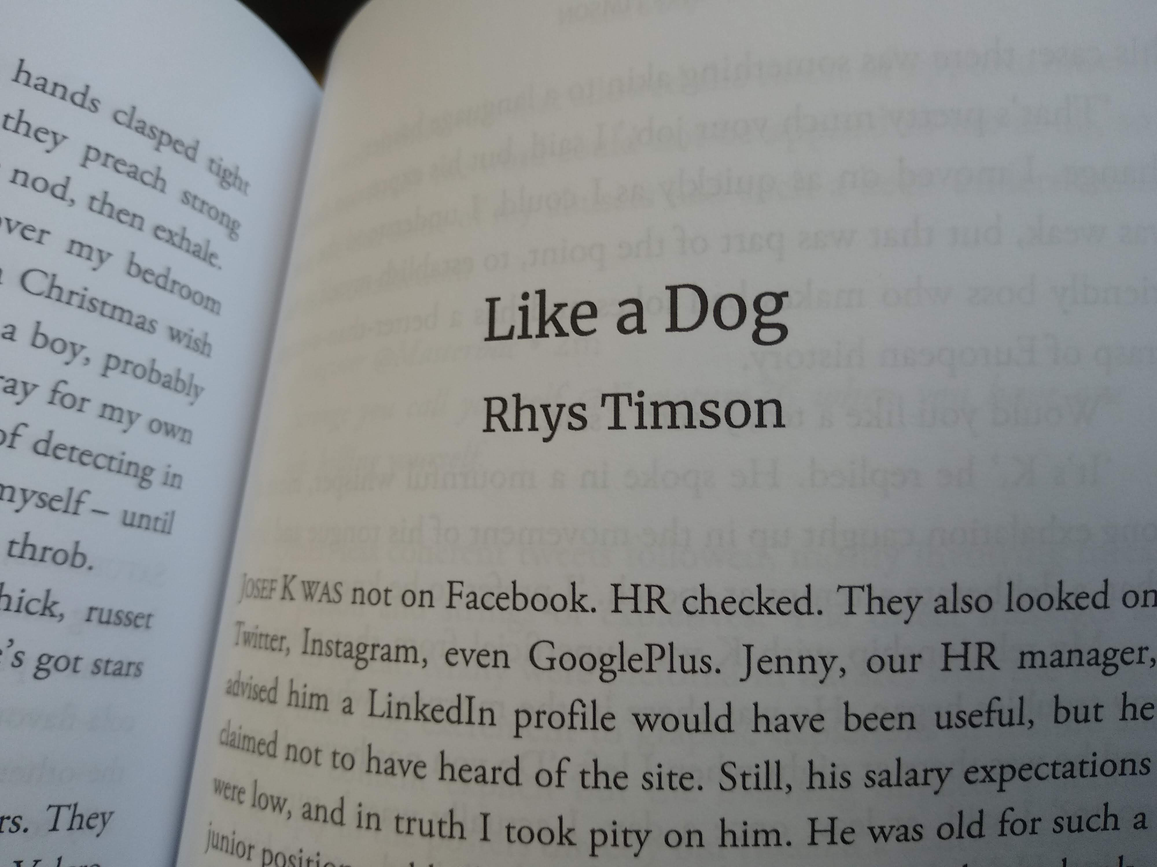The first page of 'Like a Dog' in the Future Shock anthology